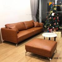 Sofa góc da thông minh màu da bò – sfd18