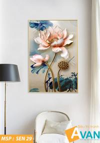 Tranh hoa sen treo phòng khách đẹp