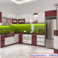 Tủ bếp acrylic chữ l kết hợp quầy bar hiện đại