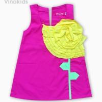 Váy bé gái kết hoa màu hồng sen (1-7 tuổi)