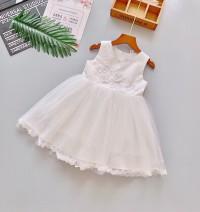 Váy đầm cao cấp hoa 3d cổ viền ngọc màu trắng (2-7 tuổi)