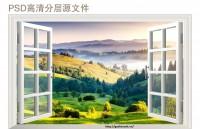Tranh 3d dáng tường cửa sổ