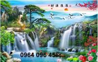 Tranh gạch men 3d phong cảnh thác nước thiên nhiên