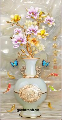 Tranh gạch men bình hoa sứ ngọc